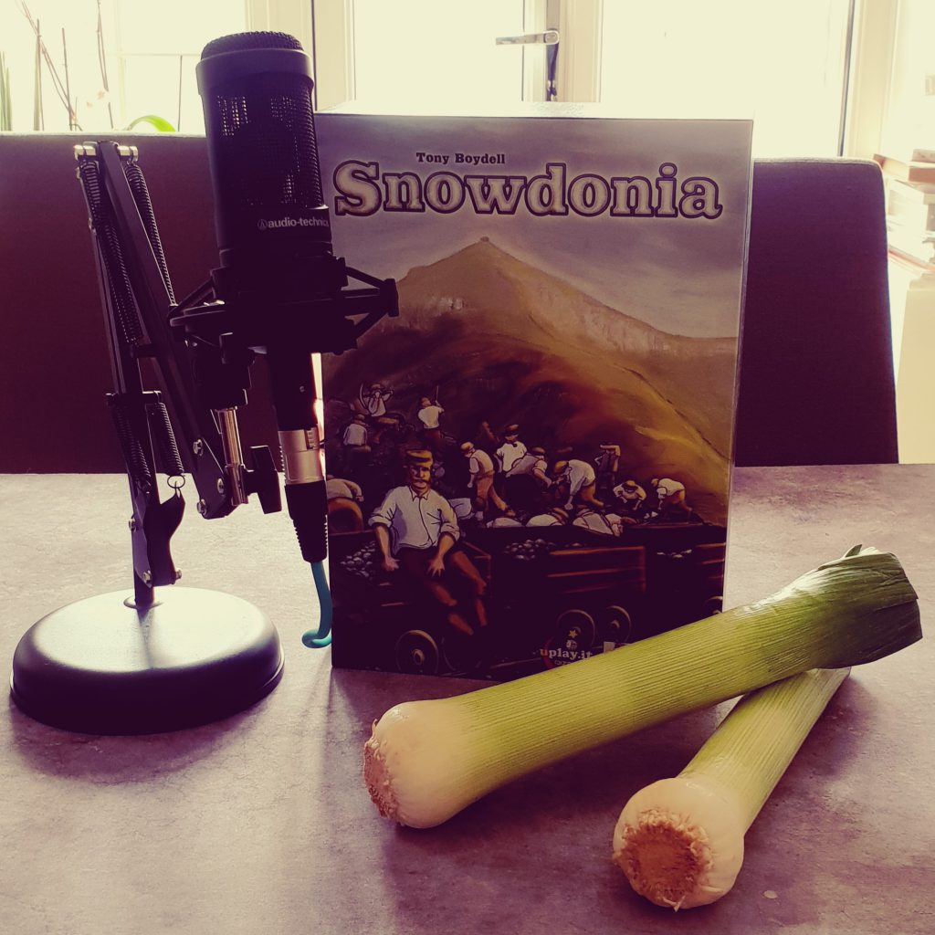The Snowdonia board game box. And some leeks.